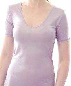 Silk T-shirt V-shaped