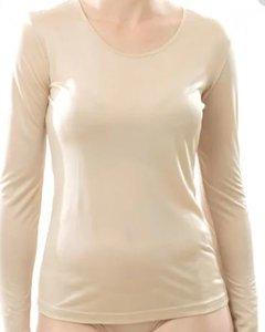 Zijden T-shirt met lange mouwen